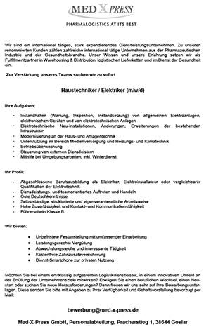 Haustechniker Elektrik (m/w/d)