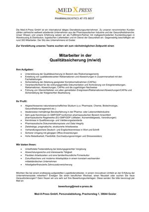 Mitarbeiter in der Qualitätssicherung (m/w/d)